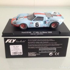 Slot Cars: SLOT, FLY A185-88135,FORD GT40 Nº6, GULF,J.ICKX-J.OLIVER , 1º 24H. LE MANS 1969. Lote 167196908