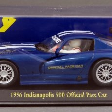 Slot Cars: DODGE VIPER AZUL INDIANÁPOLIS FLY 500 OFFICIAL PACE CAR NUEVO CAJA REF E 2 SIN USO. Lote 167944256