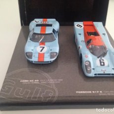Slot Cars: SLOT, FLY 99046,ESTUCHE GULF, FORD GT40 Nº7, LE MANS 1969, PORSCHE 917K Nº6 WATKINS GLEN 1970 CAN-AM. Lote 167979320
