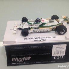 Slot Cars: SLOT, FLYSLOT FO1302, WILLIAMS FW07 Nº7, BANCO OCCIDENTAL, EMILIO DE VILLOTA, CAMPEON F1 AURORA 1980. Lote 168359428