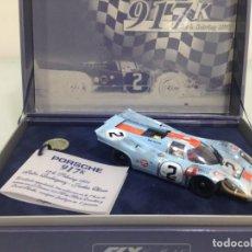 Slot Cars: SLOT,FLY Z01, PORSCHE 917K Nº 2,GULF, ACCIDENTADO 12 H. SEBRING 1971, CHEQUERED FLAG. Lote 168380376