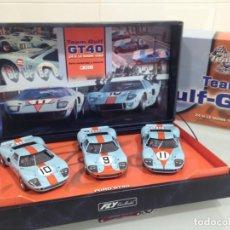 Slot Cars: SLOT, FLY TEAM 05 / 96015, ESTUCHE 3 FORD GT40 Nº9-10-11, GULF , LE MANS 1968, Nº0314. Lote 168499092