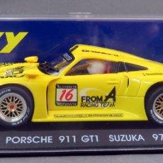 Slot Cars: PORSCHE 911 GT1 FLY SUKUZA 97 AMARILLO NUEVO CAJA REF A 36 SIN USO. Lote 168589108