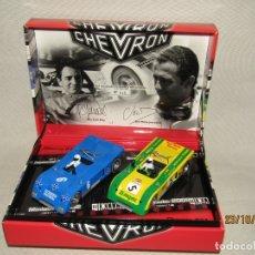 Slot Cars: DESCATALOGADA CAJA SET DE FLY EDICIÓN ESPECIAL MINIAUTO CON 2 CHEVRON - AÑO 2002. Lote 181035166