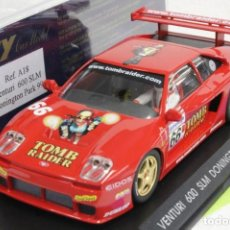 Slot Cars: FLY A-18 VENTURI 600 DONINGTON PARK 99 TOMB RAIDER. Lote 189425486