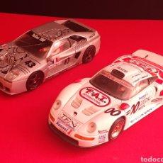 Slot Cars: 2 COCHE VENTURI LM - PORCHE GT1 FLY SCALEXTRIC .EL VENTURI LE FALTA UN RETROVISOR LA PALABRRSA ROTO. Lote 210570842