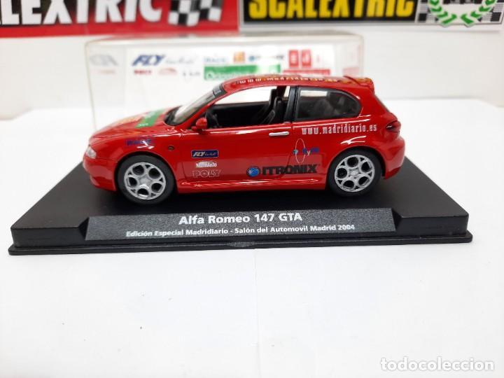 Slot Cars: ALFA ROMEO 147 GTA FLY ( Edición Especial Madridiario) SALON AUTOMOVIL MADRID 2004 SCALEXTRIC NUEVO! - Foto 3 - 222817490