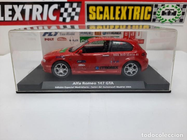 Slot Cars: ALFA ROMEO 147 GTA FLY ( Edición Especial Madridiario) SALON AUTOMOVIL MADRID 2004 SCALEXTRIC NUEVO! - Foto 16 - 222817490