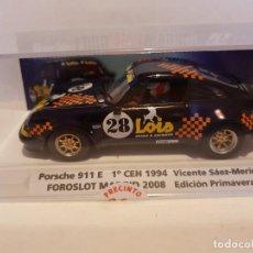 Slot Cars: PORSCHE 911 E DE FLY REF.-99116 EDICION ESPECIAL FORO SLOT MADRID 2008. Lote 228003050