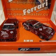 Slot Cars: FLY. SET GAUGEMASTER. BMW 3.5 + FERRARI 365. REF. E-651 - 96031. Lote 276611293