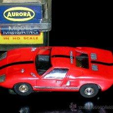 Slot Cars: FORD GT SLOT CAR, FABRICADO EN PLÁSTICO, ESC. APROX. 1/75, AURORA, ORIGINAL AÑOS 60. CON CAJA.. Lote 26340447