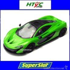 Slot Cars: SUPERSLOT MCLAREN P1 MANTIS GREEN STREET CAR SCALEXTRIC UK H3756. Lote 73771074