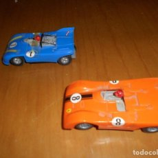 Slot Cars: DOS COCHES SLOT AÑOS 70 CHAPARRAL COLOR NARANJA Y AZUL FUNCIONANDO. Lote 73807427