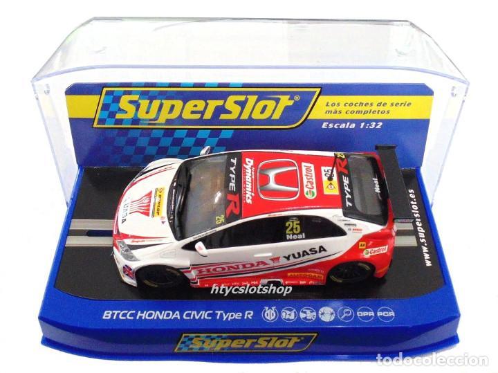 Slot Cars: SUPERSLOT HONDA CIVIC TYPE R #25 BTCC 2015 MATT NEAL YUASA SCALEXTRIC UK H3734 - Foto 9 - 74867931