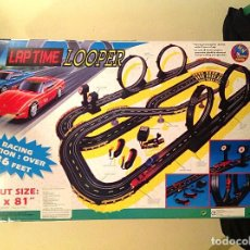 Slot Cars: SCALEXTRIC SUPER SPEED LAP TIME LOOPE COMPLETO MEDIDAS 78X38CM JUEGO PISTA CON DOS COCHES. Lote 76618387