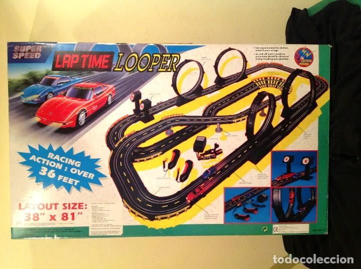 Slot Cars: Scalextric Super Speed Lap Time Loope Completo Medidas 78x38CM Juego Pista Con Dos Coches - Foto 2 - 76618387