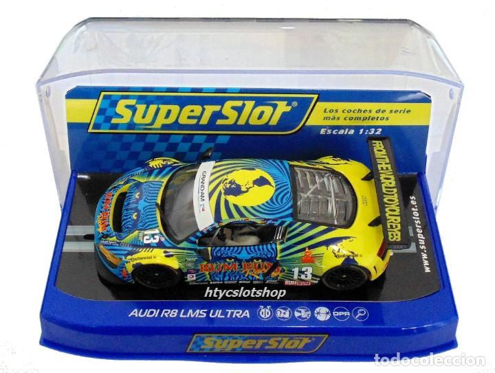 Slot Cars: SUPERSLOT AUDI R8 GT3 #13 BIELA / HAASE / PLUMB / WINKELHOCK DAYTONA 2013 RUM BUM SCALEXTRIC UK 3854 - Foto 12 - 84790692
