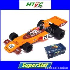 Slot Cars: SUPERSLOT LEGENDS LOTUS 72 GP #29 GUNSTON IAN SCHECKTER KYALAMI 1974 SCALEXTRIC H3833A. Lote 90829575