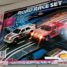Slot Cars: JUEGO VINTAGE COCHES, ROAD RACE SET, AUDI PORSCHE PISTA MANDOS ETC., AÑO 1987. Lote 92345395