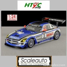 Slot Cars: SCALEAUTO 1:24 MERCEDES BENZ SLS #3 SERENGETI BLACK FALCON NURBURGRING SC 7027. Lote 92971210