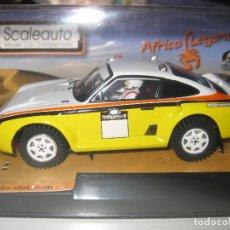 Slot Cars: OFERTA - PORSCHE 959 RAID AFRICA LEGENS AMARILLO DE SCALEAUTO. Lote 141323972
