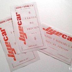 Slot Cars: JYECAR TARIFAS DE PRECIOS 1968/1969/1971.. Lote 112686923