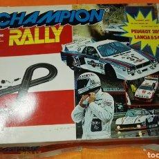 Slot Cars: CIRCUITO CHAMPION RALLY CON COCHES POLISTIL . TIPO SCALEXTRIC. Lote 114448559