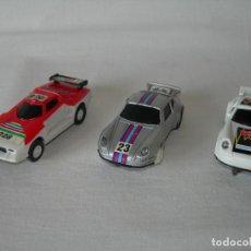 Slot Cars: LOTE DE 3 RAROS COCHES DE CARRERAS DIFERENTES TIPO TCR O SCALEXTRIC - PATENT PENDING - AÑOS 70/80 -. Lote 121414231