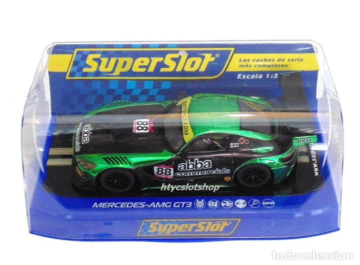 Slot Cars: SUPERSLOT MERCEDES AMG GT3 #88 ABBA BRITISH GT 2017 SHORT SCALEXTRIC UK H3943 - Foto 12 - 126848003