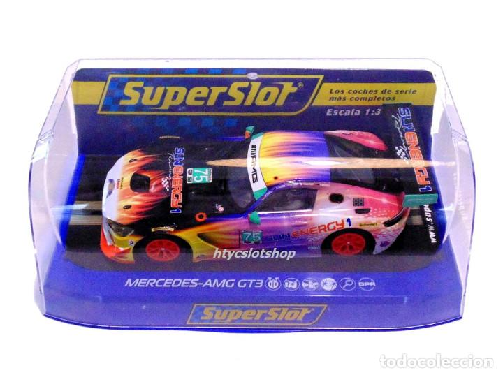 Slot Cars: SUPERSLOT MERCEDES AMG GT3 #75 SUNENERGY 1 24 HS DAYTONA 2017 SCALEXTRIC UK H3941 - Foto 12 - 137504637