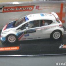 Slot Cars: NOVEDAD - PEUGEOT 208 IRC WINNER RALLY ACROPOLIS 2014 VERSION RACING DE SCALEAUTO. Lote 142189734