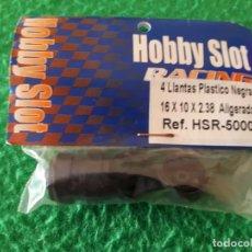 Slot Cars: 4 LLANTAS PLASTICO NEGRAS – HOBBY SLOT RACING – NUEVAS. Lote 143194542