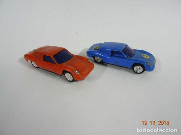 Slot Cars: Antiguo Circuito y Coches Slot con 2 PORSCHE GT LE MANS Fabricado en Hong Kong - Foto 9 - 149580322