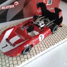 Slot Cars: SLOTER LATA CON LOLA T70 SPYDER. 1:32 CON PEADA RESINA.MUY DETALLADO.VÁLIDO SCALEXTRIC. Lote 190770718