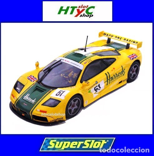 SUPERSLOT MCLAREN F1 GTR #51 HARRODS DEREK BELL / ANDY WALLACE 24 H LE MANS 1995 SCALEXTRIC UK H4026 (Juguetes - Slot Cars - Magic Cars y Otros)