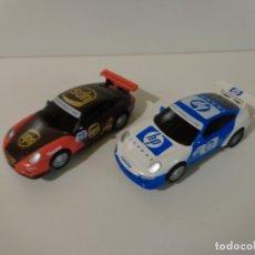Slot Cars: LOTE DE 2 PORSCHE GT3 ORIGINALES DE SCALEXTRIC SCX COMPACT ESCALA 1:43, PERFECTO ESTADO. Lote 173374535