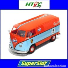 Slot Cars: SUPERSLOT VOLKSWAGEN PANEL VAN GULF PORSCHE RACE TEAM SCALEXTRIC UK H4060. Lote 182721002
