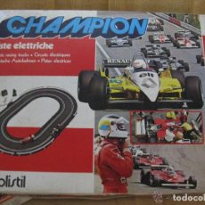 Slot Cars: ANTIGUA CAJA CON PISTA ELÉCTRICA Y 2 COCHES CHAMPION POLISTIL MADE IN ITALY.. Lote 192461416