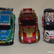 Slot Cars: LOTE 5 / 3 COCHES - CARRERA SLOT / ESCALA 1:43 - COCHE/MOTOR FUNCIONANDO CORRECTAMENTE ¡MIRA!. Lote 198247290