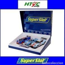 Slot Cars: SUPERSLOT TRIPLE PACK ROFGO GULF MCLAREN GTR + FORD GT40 + ASTON MARTIN DBR9 SCALEXTRIC H4109A. Lote 209709305