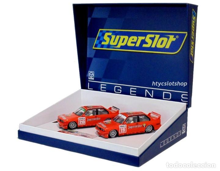Slot Cars: SUPERSLOT BMW M3 E30 DTM JAGERMEISTER TWIN PACK TEAM LINDER SCALEXTRIC H4110A - Foto 2 - 209710112