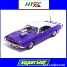 Slot Cars: SUPERSLOT DODGE CHARGER R-T PURPLE SCALEXTRIC UK H4148. Lote 213642125