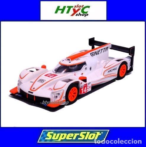 SCALEXTRIC GINETTA G60-LT-P1 #14 WHITE / ORANGE SUPERSLOT H4061 (Juguetes - Slot Cars - Magic Cars y Otros)