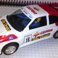 Slot Cars: COCHE SCALEXTRIC HORNBY1/32 FORD SIERRA COSWOR #15 CEPSA FALTAN RETROVISORES SIN CAJA. Lote 233898065
