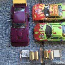 Slot Cars: LOTE DE COCHES DE SLOT PLAFIT 1:24 COMPETICIÓN NASCAR Y RECAMBIOS (MOTORES Y CARROCERÍA FORD CAPRI). Lote 234036320