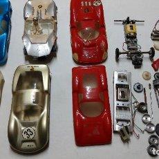 Slot Cars: LOTE ANTIGUAS CARROCERIAS Y COCHES SLOT EN ESCALA 1/24 DE ELDON FABRICADOS EN JAPÓN. Lote 243665050