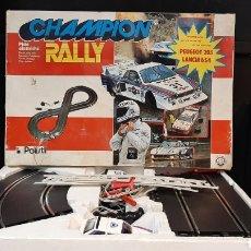 Slot Cars: JUEGOS SLOTCAR CHAMPION RALLY DE POLISTIL PEUGEOT 205 LANCIA BS4. Lote 284838913