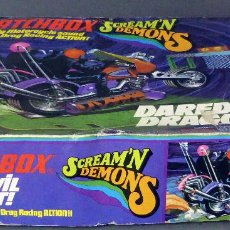 Slot Cars: SCREAM DEMONS MATCHBOX LESNEY DAREDEVIL DRAGOUT MADE IN ENGLAND AÑOS 70 JUEGO PISTA. Lote 96235903