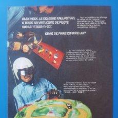 Slot Cars: ANTIGUA PUBLICIDAD MATCHBOX SUPERFAST STEER-N-GO / ALEX HECK / RECORTE EN FRANCÉS. Lote 154229105