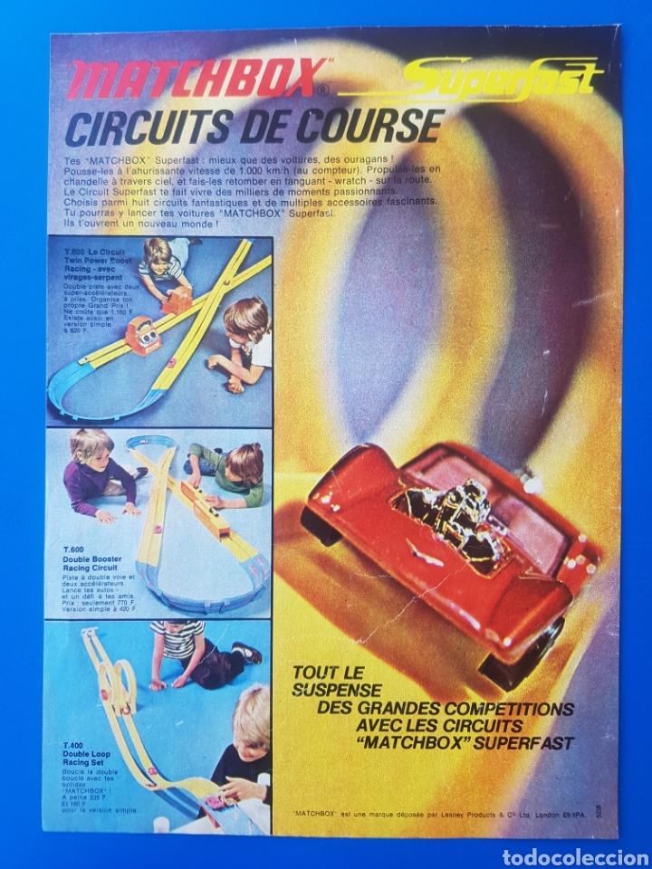 ANTIGUA PUBLICIDAD MATCHBOX SUPERFAST CIRCUITS DE COURSE / T.800 T.600 T.400 / RECORTE EN FRANCÉS (Juguetes - Slot Cars - Matchbox)